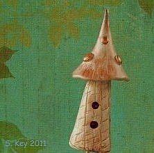 Art: Fairy Birdhouse Sculpture by Artist Sherry Key