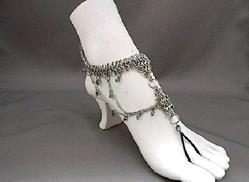 Art: Warrior Princess Chain Maille Beaded Barefoot Sandal by Artist Sparkle Plenty Fine Beaded Jewellery