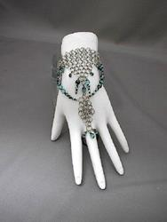 Art: Warrior Princess Beaded Chain Maille Slave Bracelet by Artist Sparkle Plenty Fine Beaded Jewellery