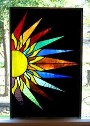 Art: Stained Glass Window Panel Sunburst by Artist Phil Petersen