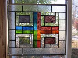 Art: 4 Seasons in Stained Glass Windows Panel Origianl Trees  by Artist Phil Petersen