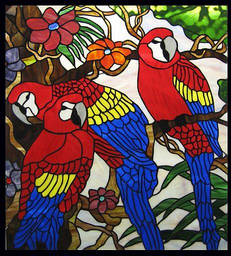 Art: Macaw Paradise Stained Glass Window Panel by Artist Phil Petersen