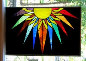 Detail Image for art Stained Glass Window Panel Sunburst