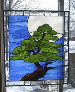 Detail Image for art Bonsai Moonlight Stained Glass Window