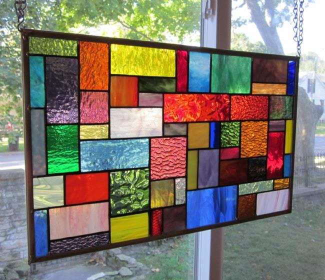 Art: Surge Stained Glass Window Panel Transom by Artist Phil Petersen