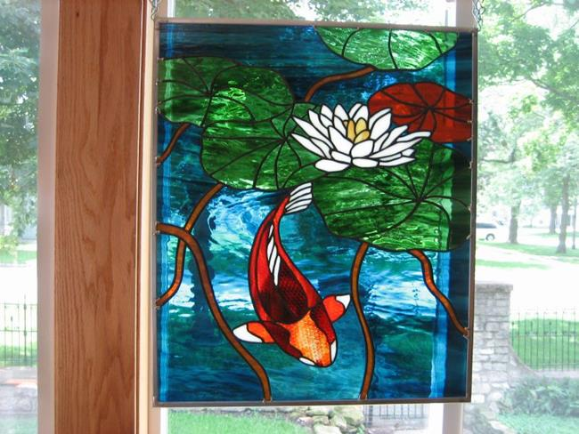 Art: Koi Stained Glass Beveled Windows Panel by Artist Phil Petersen