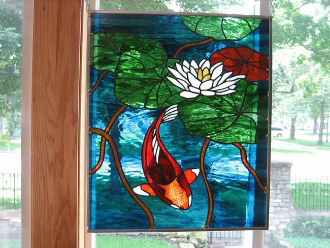 Art: Koi Stained Glass Beveled Windows Panel by Artist Phil Petersen