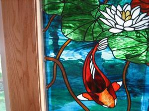 Detail Image for art Koi Stained Glass Beveled Windows Panel