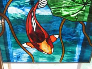 Detail Image for art Koi Stained Glass Beveled Windows Panel