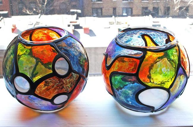 Art: 2 Small Stained Glass Painted Votive Globes by Artist Diane G. Casey