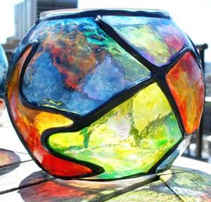 Detail Image for art 2 Small Stained Glass Painted Votive Globes