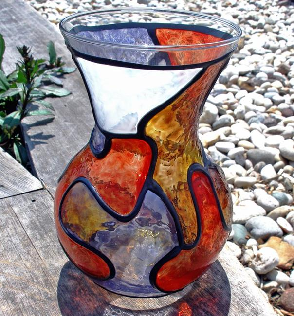Art: Orange and Brown Shapely Stained Glass Painted Vase by Artist Diane G. Casey