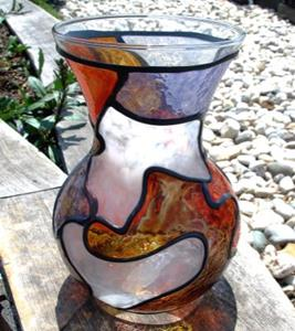 Detail Image for art Orange and Brown Shapely Stained Glass Painted Vase