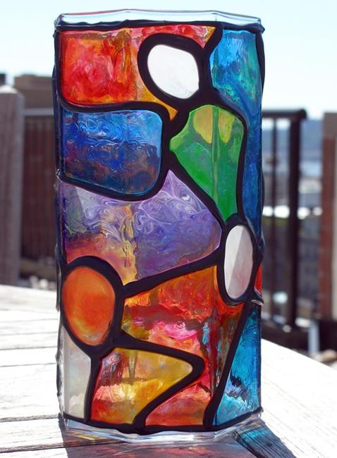 Art: Organic Octagon (Stained Glass Painted Vase) by Artist Diane G. Casey