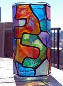 Detail Image for art Organic Octagon (Stained Glass Painted Vase)
