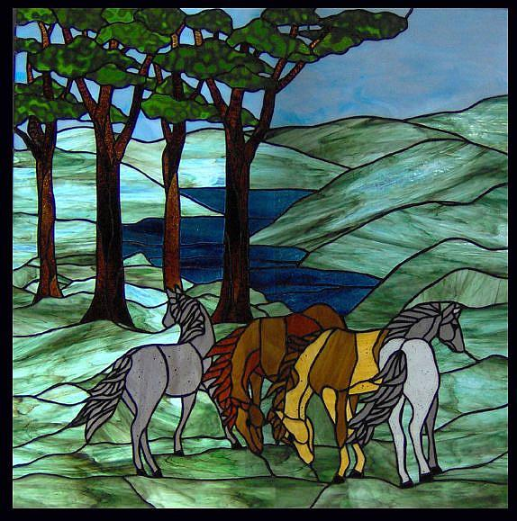 Horses and ponies in the meadow stained glass window panel for Window horses