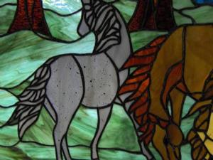 Detail Image for art Horses and Ponies in the Meadow Stained Glass Window Panel