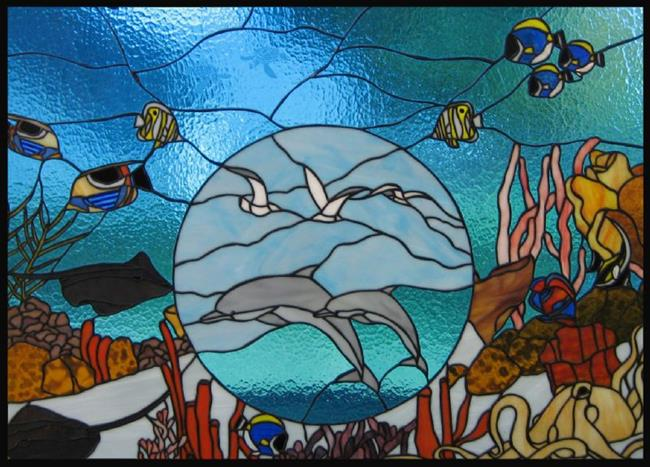 Art: Dolphin Cove Stained Glass Window Panel by Artist Phil Petersen