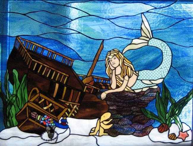 Art: Mermaid with Sunken Pirate Ship by Artist Phil Petersen