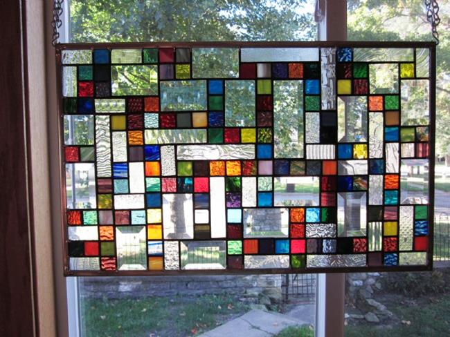 Art: Vibrant Sampler Stained Glass Windows Panels  by Artist Phil Petersen