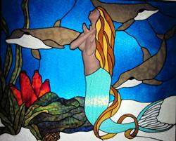 Art: Mermaid Stained Glass Panel by Artist Phil Petersen