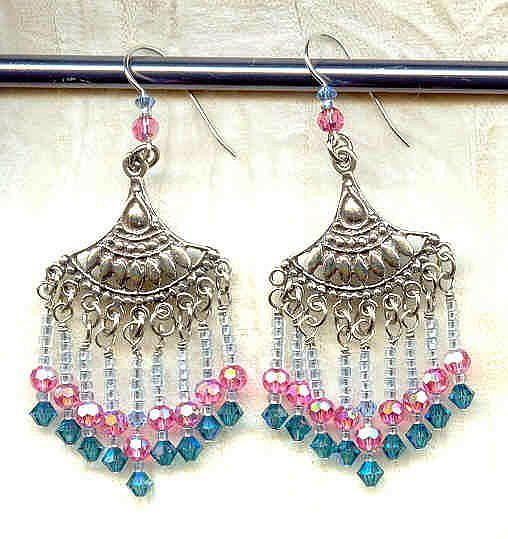 Art: Sterling Chandelier Earrings with Rose and Indicolite Swarovski Crystal by Artist Sparkle Plenty Fine Beaded Jewellery
