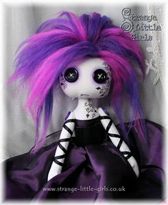 Detail Image for art Custom button-eyed cloth art doll