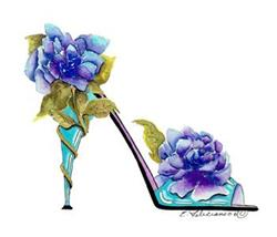 Art: FLEURS DE PIVOINES BLEU by Artist Elena Feliciano