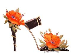 Art: CALIFORNIA POPPY STILETTO by Artist Elena Feliciano