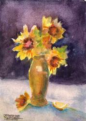 Art: Sunflowers purple by Artist Catherine Darling Hostetter