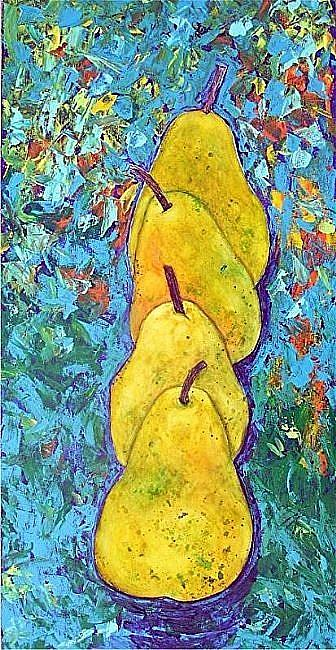 Art: Four Pears all in a Row by Artist Ulrike 'Ricky' Martin