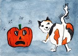 Art: Pumpkin Cat &  Pumkin by Artist Marcia Ruby