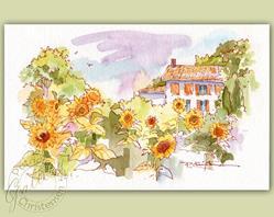 Art: French Sunflower Villa by Artist Patricia  Lee Christensen