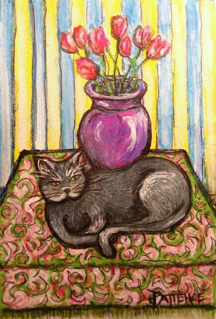 Art: Cat Nap (with Tulips) by Artist Patience