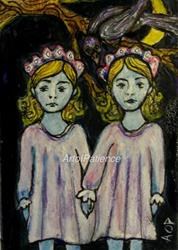 Art: SEHA Monthly Theme: ACEO 'The Blue Ghost Sisters of Hominy Hill: by Artist Patience