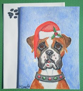 Detail Image for art Santa Boxer and Candy Cane
