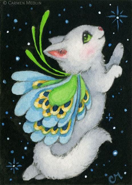 Art: Cosmic Kitten II ACEO by Artist Carmen Medlin