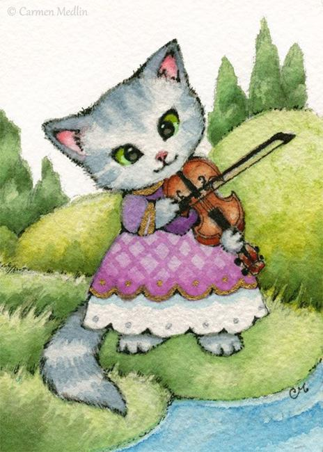 Art: Little Fiddler ACEO by Artist Carmen Medlin
