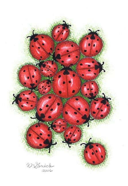 Art: Ladybug Cluster by Artist Wendy L. Gonick