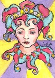 Art: ACEO Theme Week: Frown of a Clown by Artist Patience