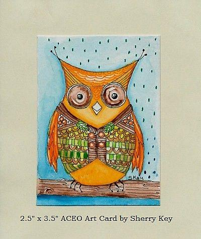 Art: Owl And His Vest-Sold by Artist Sherry Key