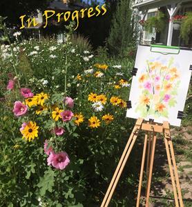 Detail Image for art Garden Plein Air EBSQ - Holly Hocks, Black-eyed Susans & Daisies