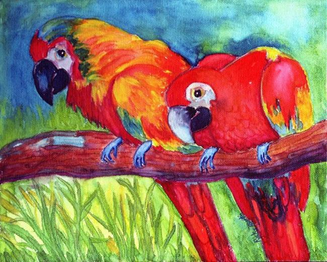 Art: Parrots ( available in my ebay store) by Artist Ulrike 'Ricky' Martin