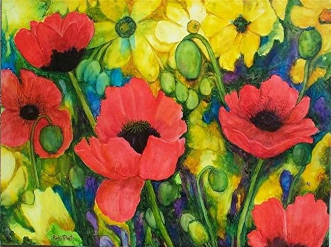 Art: Poppies Galore by Artist Ulrike 'Ricky' Martin