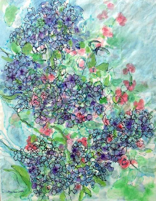 Art: Blue Hygrangas by Artist Mary Anne Carley