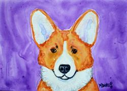 Art: Corgi and Purple by Artist Melinda Dalke