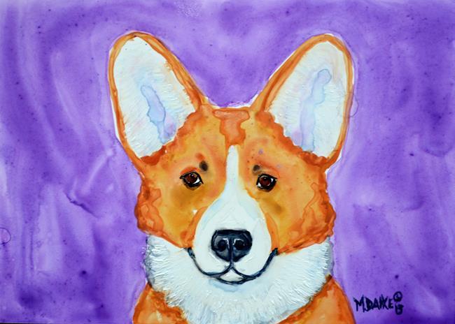 Art: Corgi and Purple by Artist Melinda Dalke