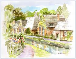 Art: Cotswold  Cottages ~ Sold by Artist Patricia  Lee Christensen