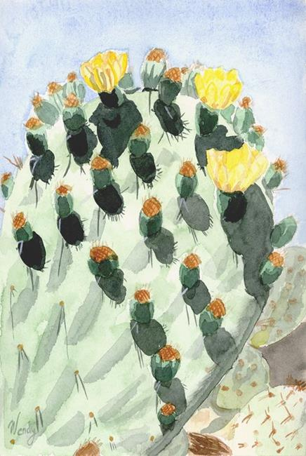 Art: Prickly Pear with Buds and Blooms by Artist Wendy L. Gonick