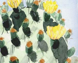 Detail Image for art Prickly Pear with Buds and Blooms